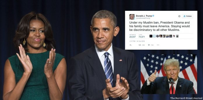 Trump tweets about legal obligation to deport Obama and Michelle. | Trump deporting Obamas
