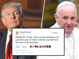 Pope tweets Trump to give up presidency for Lent