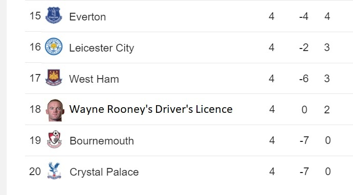 Wayne Rooney's Driver's Licence Drops Into Relegation Zone