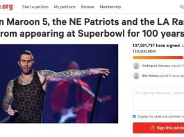 Petition Demanding Maroon 5, Patriots, Rams Never Appear At Super Bowl Again Reaches 100m Signatures In 12 Hours