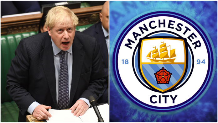 Image of Boris Johnson and Man City crest