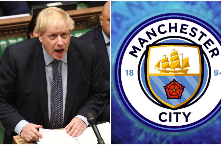 Image of Boris Johnson and Man City crest